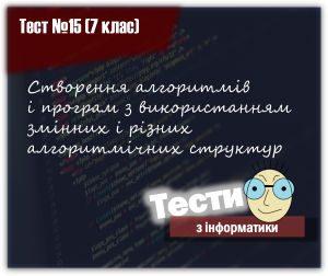 Створення алгоритмів і програм з використанням змінних і різних алгоритмічних структур. Тест 15. Інформатика 7 клас